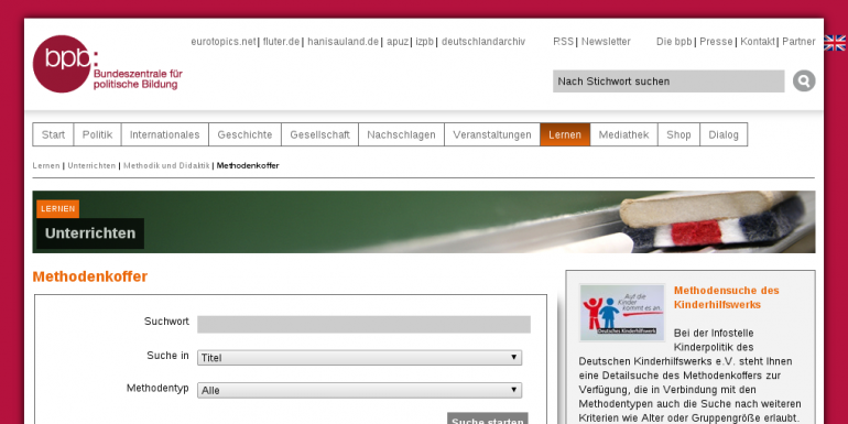 Screenshot des Methodenkoffers